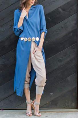 Easel Long Blue Top