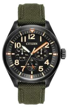Citizen Chandler Eco-Drive Analog Military Cordura Fabric Strap Watch