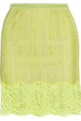Roberto Cavalli Corded Lace-appliqued Stretch-knit Mini Skirt