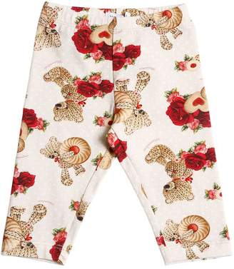 MonnaLisa Roses & Bears Milano Jersey Leggings