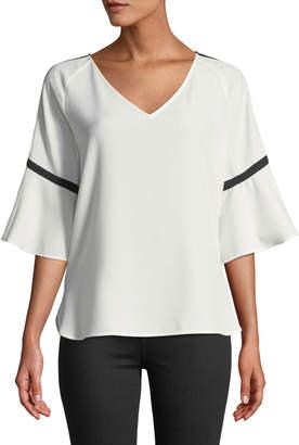 Iconic American Designer Flare-Sleeve Contrast-Stripe Blouse