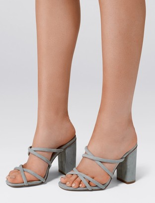 Forever New Luna Strappy Block Heel Mules - Ice Blue - 36