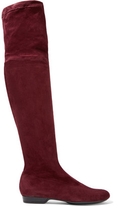 Robert Clergerie - Fissal Stretch-suede Over-the-knee Boots - Burgundy $850 thestylecure.com
