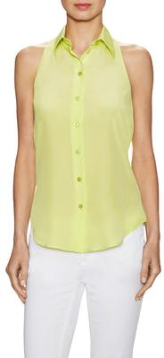 MoschinoSilk Sleeveless Button Up Top
