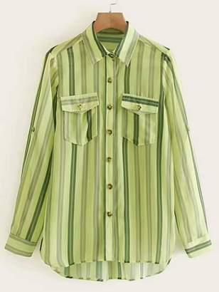 9cfac7776a Shein Vertical-striped Western Flap Pocket Dip Hem Blouse