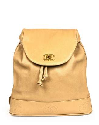 Chanel Vintage Beige Leather Backpacks