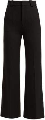 Roland Mouret Dilman Stretch Crepe Flared Trousers - Womens - Black