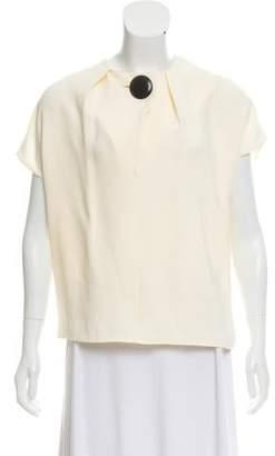 Balenciaga Cap Sleeve Pleated Blouse