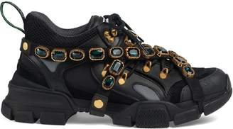 Gucci Men's Flashtrek leather sneaker with crystals