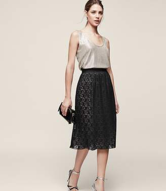 Reiss Adali - Lined Lace Skirt in Black