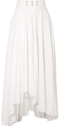 Awake Asymmetric Pleated Poplin Midi Skirt - White