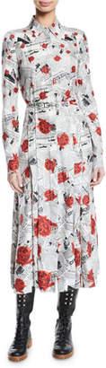 Gabriela Hearst Jane Button-Front Long-Sleeve Newspaper & Rose Print Shirtdress