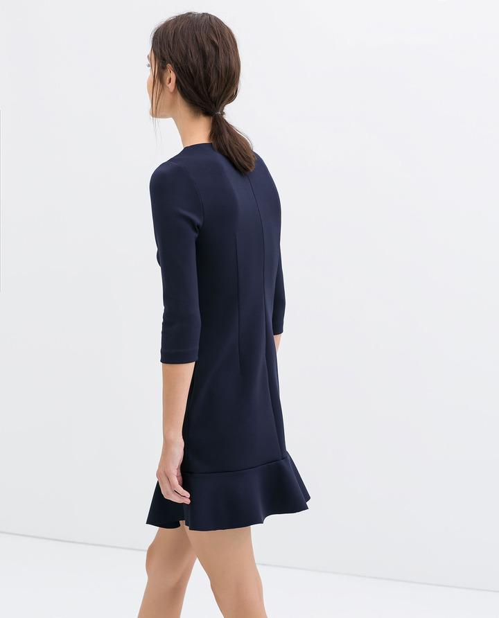 Zara Dress With Appliqué On Neckline