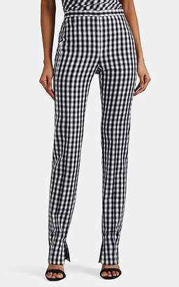 Narciso Rodriguez Women's Gingham Wool Straight-Leg Trousers - White, Blk
