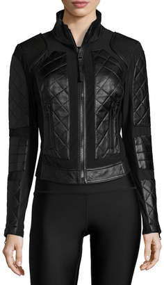 cbcaaa79ecca Blanc Noir Quilted Leather   Mesh Moto Jacket