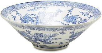 """One Kings Lane 16"""" Dragon Bowl - Blue/White"""