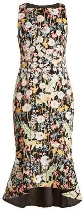 Peter Pilotto Kia Floral Print Cady Midi Dress - Womens - Multi