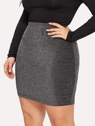 Shein Plus Elastic Waist Glitter Bodycon Skirt