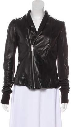 Rick Owens Wool-Paneled Leather Jacket