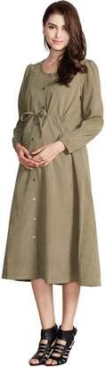 Sweet Mommy Maternity and Nursing Button Front Faux Suede Maxi Dress KHM