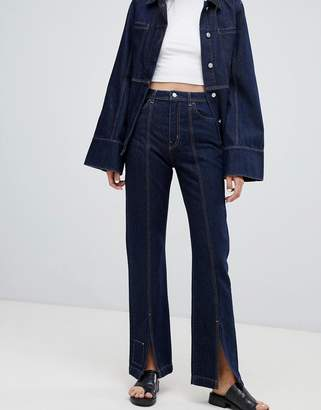 Weekday Limited Collection Mom Jeans With Front Seam And Slit Hem