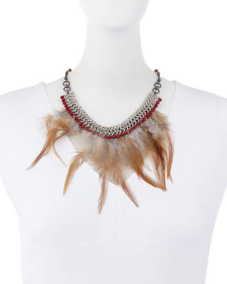 Nakamol Feather Bib Statement Necklace