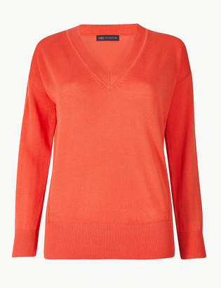 Marks and Spencer PETITE Pure Cotton V-Neck Jumper