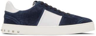Valentino Blue Garavani Suede Flycrew Sneakers