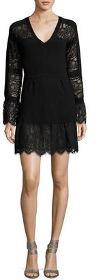 Nanette Lepore Long-Sleeve Lace-Trim Wool Sweaterdress, Black $398 thestylecure.com