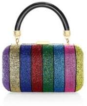 Alice + Olivia Shirley Embellished Rainbow Stripe Clutch