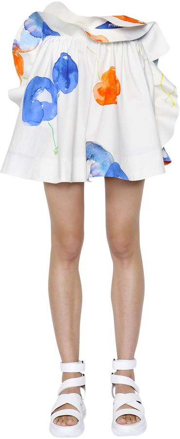 Ruffled Printed Cotton Poplin Skirt