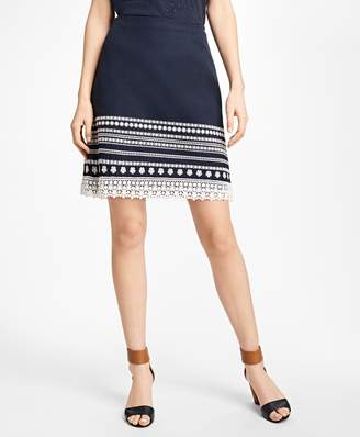 Brooks Brothers Embroidered Cotton Canvas Skirt
