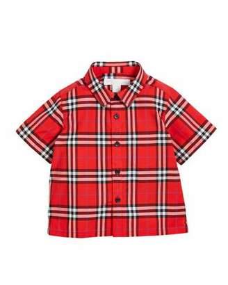 Burberry Steven Check Button-Down Shirt, Size 6M-3