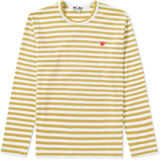 Comme des Garcons Little Red Heart Long Sleeve Stripe Tee