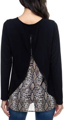 Ariella Usa Snake Print Lined Zipper Back Top
