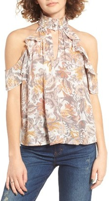 Women's Sun & Shadow Smock Neck Cold Shoulder Blouse $49 thestylecure.com