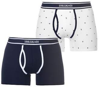Soul Cal SoulCal Mens AOP Boxers Pack of 2 Boxer Underwear Stretch Stretchy Elasticated