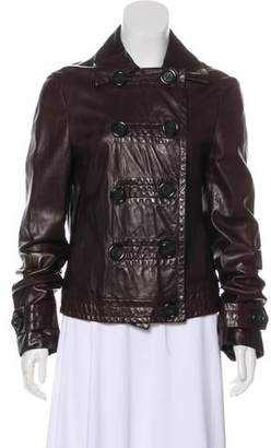 Michael Kors Leather Button-Up Jacket
