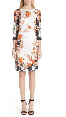 St. John Modern Floral Print Stretch Silk Dress