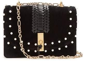 Altuzarra Ghianda Braided Leather Suede Shoulder Bag - Womens - Black White