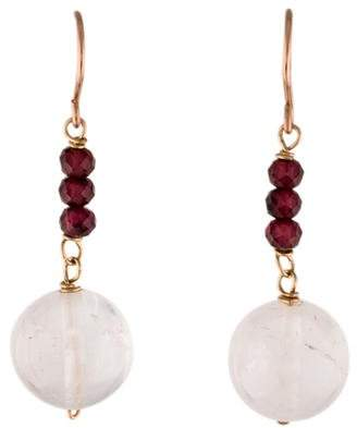 14K Rose Quartz & Garnet Drop Earrings
