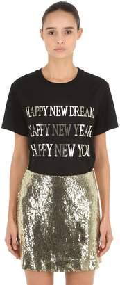 Alberta Ferretti Happy New Year Silk Jersey T-Shirt