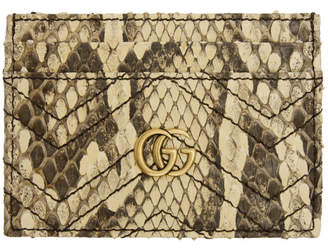 Gucci White Python GG Marmont 2.0 Card Holder