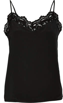 L'Agence Janet Lace-Trimmed Silk Camisole