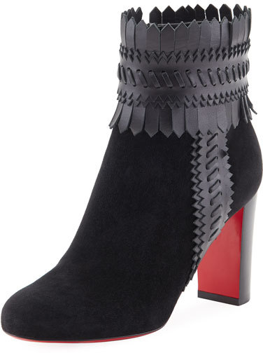 Christian Louboutin  Christian Louboutin Pocabootic Whipstitched Red Sole Boot, Black