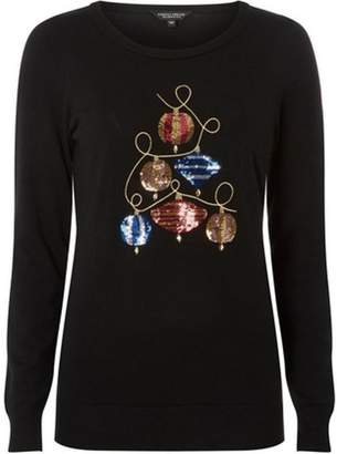 Dorothy Perkins Womens Trees For Cities Black Sequin Bauble Jumper