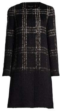 Eileen Fisher Tartan Wool& Cotton-Blend Coat