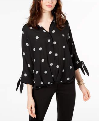 Alfani Polka-Dot Tie-Cuff Blouse, Created for Macy's
