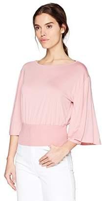 Three Dots Women's Refined Jersey Flutter Sleeve Short Loose Shirt