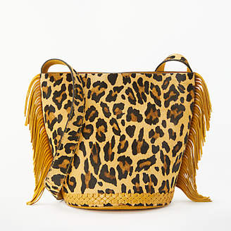 Isabella Collection AND/OR Leather Bucket Bag, Ochre/Leopard